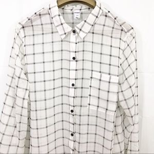 Old Navy Plaid Sheer Button Front Collared Blouse